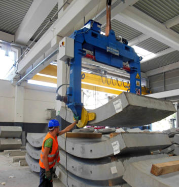 Euroform segment demolding and tilting clamp